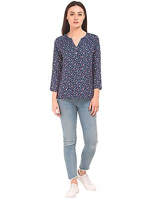 Cherokee Notched Neck Floral Print Top