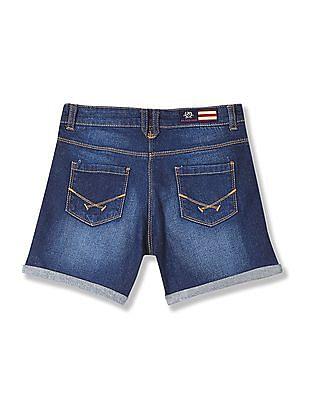 U.S. Polo Assn. Kids Girls Stone Wash Denim Shorts