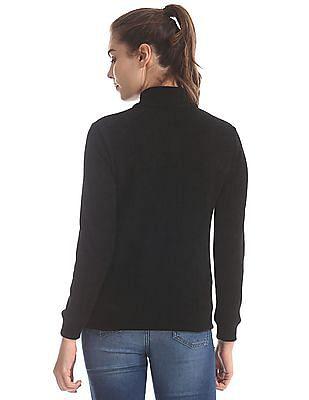 Cherokee Black High Neck Solid Sweater