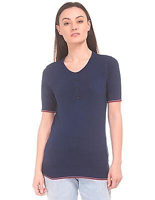 U.S. Polo Assn. Women Button Placket Sweater Top