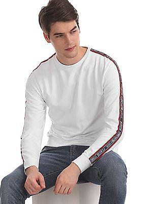 Flying Machine White Crew Neck Brand Taping Sweatshirt