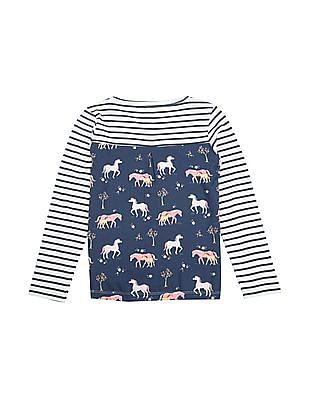 U.S. Polo Assn. Kids Girls Horse Print Striped T-Shirt
