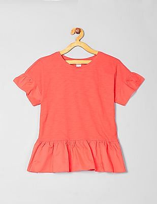 GAP Girls Short Sleeves Peplum Top