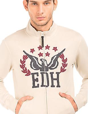 Ed Hardy Embroidered Zip Up Sweatshirt