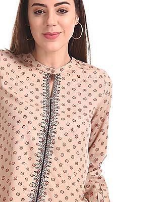Bronz Mandarin Collar Printed Top