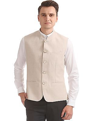 Arrow Slim Fit Cotton Linen Nehru Jacket