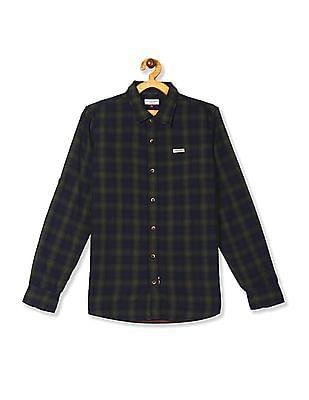 U.S. Polo Assn. Kids Green Boys Cotton Check Shirt