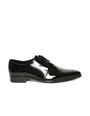 Arrow Patent Leather Square Toe Derby Shoes