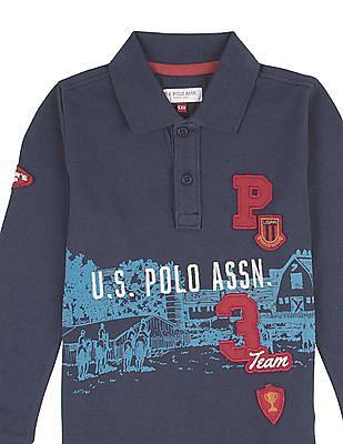 U.S. Polo Assn. Kids Boys Long Sleeve Printed Polo Shirt
