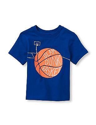 The Children's Place Toddler Boy Blue Short Sleeve 'Slam Dunk' Basketball Graphic Tee