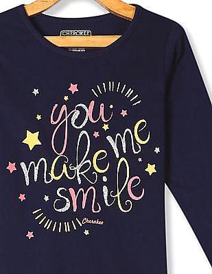 Cherokee Girls Long Sleeve Glitter Print T-Shirt