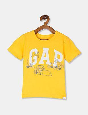 GAP Toddler Boy Yellow Crew Neck Logo Graphic T-Shirt