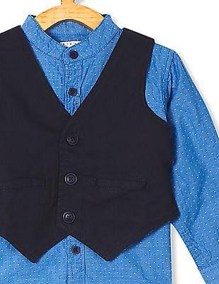 Donuts Blue Boys Mandarin Collar Shirt With Waistcoat