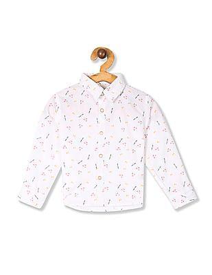 Donuts White Boys Allover Print Cotton Shirt