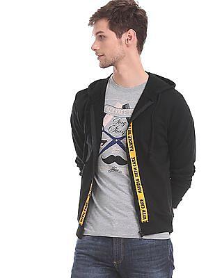 Colt Black Drawstring Hood Printed Sweatshirt