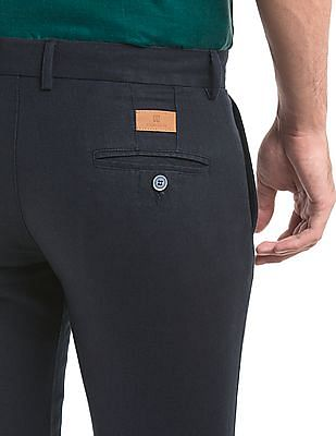 True Blue Tapered Fit Cotton Linen Trousers