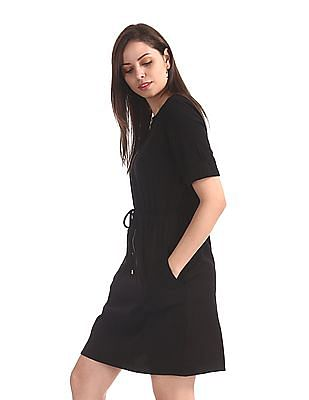 Cherokee Black Zip Up Front Shift Dress