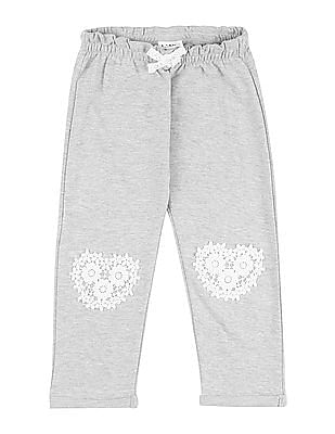 Donuts Girls Lace Applique Cotton Track Pants