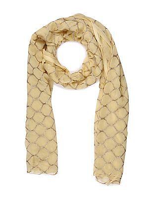 Anahi Gold Geometric Pattern Woven Dupatta