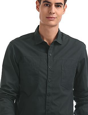 Cherokee Green Semi Cutaway Collar Cotton Shirt
