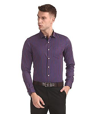Excalibur Mitered Cuff Striped Shirt