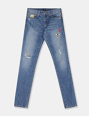 GAP Girls Blue Superdenim Embroidered Patch Super Skinny Jeans With Fantastiflex