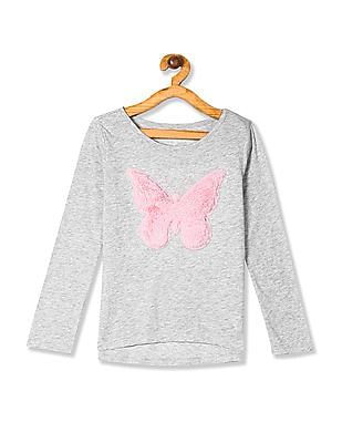 The Children's Place Grey Girls Long Sleeve Faux Fur Butterfly High Low Top