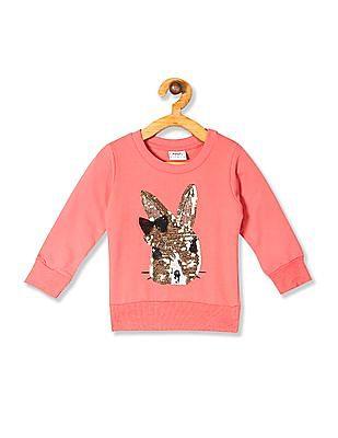 Donuts Pink Girls Crew Neck Sequinned Sweatshirt