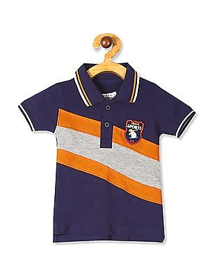 Donuts Blue Boys Cut And Sew Panel Pique Polo Shirt