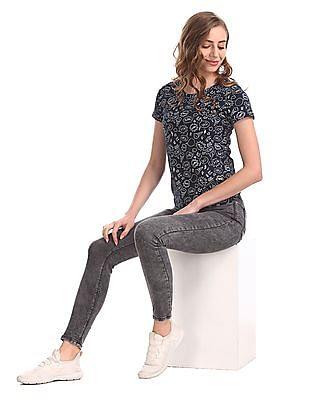 SUGR Blue Contrast Print Cotton T-Shirt