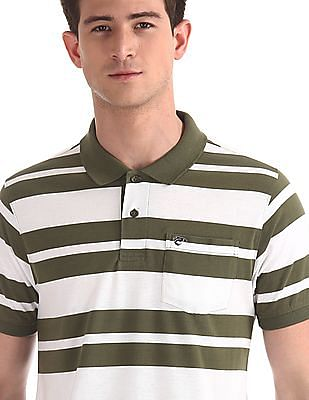 Ruggers Green Patch Pocket Striped Polo Shirt