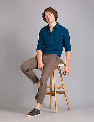 True Blue Blue Slim Fit Modal Linen Shirt