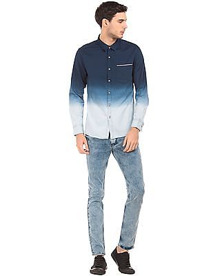 Flying Machine Slim Fit Ombre Dyed Shirt