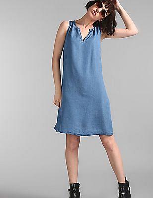 GAP Blue Sleeveless Solid Dress