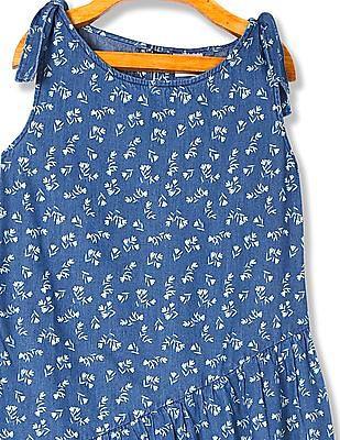 Cherokee Girls Floral Print Denim Dress