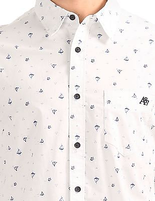 Aeropostale Boat Print Long Sleeve Shirt