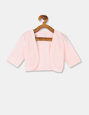 The Children's Place Girls Pink Front Open Ruffle Shrug
