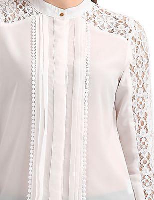 Elle Studio Mandarin Collar Lace Trim Top