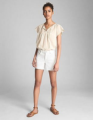 GAP Women White Short Sleeve Metallic Print Smock Top