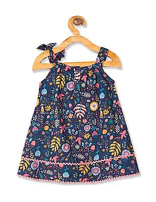 Donuts Girls Floral Print A-Line Dress