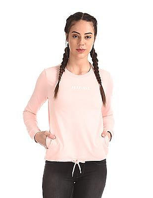 Flying Machine Women Crew Neck Long Sleeve Sweatshirt