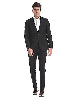 Arrow Black Body Tailored Regular Fit Solid Suit