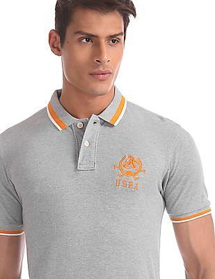 U.S. Polo Assn. Grey Tipped Hem Heathered Polo Shirt
