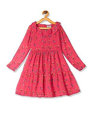 Cherokee Pink Girls Printed Fit And Flare Dress