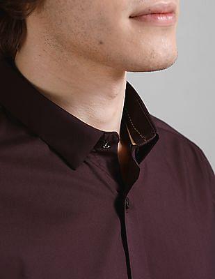 True Blue Purple Slim Fit Solid Shirt