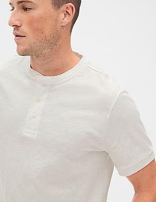 GAP White Vintage Slub Jersey Henley