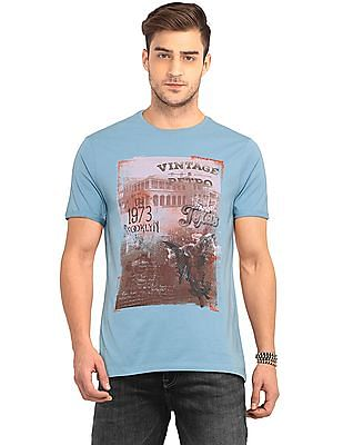 Cherokee Blue Upturned Sleeve Printed T-Shirt