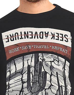 Cherokee Black Round Neck Printed T-Shirt