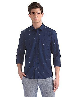 Ruggers Blue Patch Pocket Printed Shirt