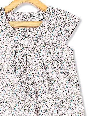 Cherokee Grey Girls Cap Sleeve Printed Top